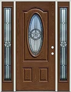 Fiberglass Front Door With Sidelites 3 4 Oval Texas Star 60 Patina Pre Finished Oak Left
