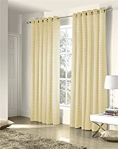 Savoy Cream Gold Embroidered Chain Link Lined 46x90 Ring Top Curtains #ztir *as* from Curtains