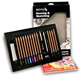 Art Drawing Set - 21 Piece Set by Reeves (Includes 10 Colored Pencils, 4 Sketching Pencils, 1 Graphite Pencil, 2 Blending Stumps, 1 Sandpaper Block, 1 Eraser, 1 Sharpener, and Sketch Pad)