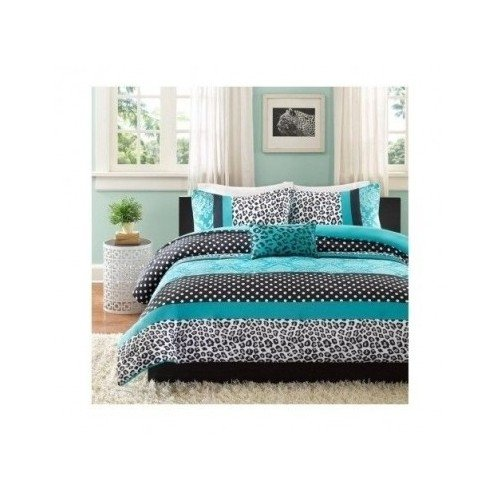 Comforter Bed Set Teen Bedding Modern Teal Black Animal Print Girls  Bedspead Update Home (full