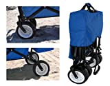 * FREE ICE COOLER * BLUE GARDEN UTILITY SHOPPING TRAVEL CART LARGE ALL TERRAIN BEACH TIRES OUTDOOR SPORT COLLAPSIBLE FOLDING WAGON WITH CANOPY COVER - EASY SETUP NO TOOL NECESSARY