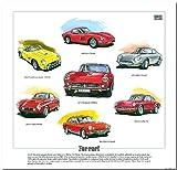 Classic Ferrari 1950s & 1960s --- 250GT, 250GT, 275GTB/4, 330GT & 365GTC. Ready to frame.