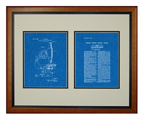 """Microscope And Counting Chamber Patent Art Blueprint Print In A Honey Glazed Wood Frame (16"""" X 20"""")"""