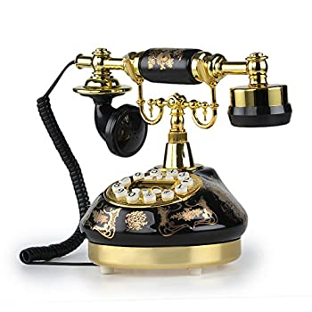 LNC Black Ceramic LNC Retro Vintage Antique Style Push Button Dial Desk Telephone Phone Home Living Room Decor