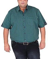 Xmex Men's Cotton Shirt (KR-HSECOGRN, Green, XXX-Large)