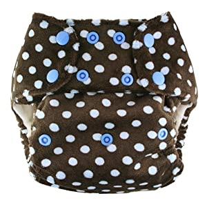 Blueberry Minky Diaper Snaps, Blue on Chocolate