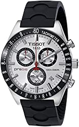 Tissot Men's T0444172703100 PRS 516 Silver-Tone Chronograph Dial Watch With Black Rubber Band