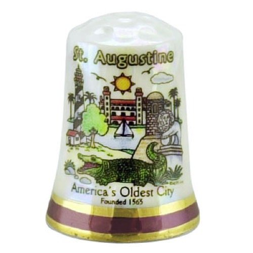 Fantastic Deal! St. Augustine Florida Map City Scene Pearl Souvenir Collectible Thimble agc