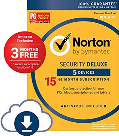 Norton Security Deluxe- 5 Devices; Amazon Exclusive 15-month Subscription
