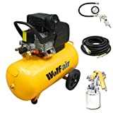 Wolf Sioux 50, 2.5HP, 9.5CFM, 230V, MWP: 116psi, 50 Litre Air Compressor + New Ultimate Kit Includes: 10 Metre Heavy Duty Rubber Air Hose , Gold Syphon Feed Spray Gun and Air Tyre Inflator