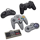 5 USB Classic Controllers - Nintendo (NES), Super Nintendo (SNES), Sega Genesis, Nintendo 64 (N64), PlayStation 2 (PS2) for RetroPie, PC, HyperSpin, MAME, NeoGeo FBA Emulator, Raspberry Pi Gamepad
