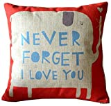 Never Forget I Love You Elephant Cotton Linen Throw Pillow Case Cushion Cover Home Sofa Couch Decorative 18 X 18 Inch (1)