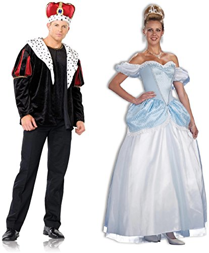Prince Charming and Cinderella Adult Couples Costume Size:Extra Large