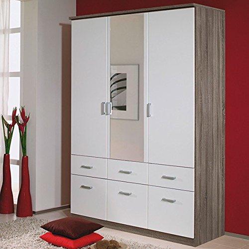 Kleiderschrank braun / weiß 3 Türen B 136 cm eiche havanna Schrank Drehtürenschrank Wäscheschrank Spiegelschrank Kinderzimmer Jugendzimmer günstig