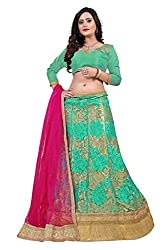 Orange Fab Green Embroidered Net Lehenga Choli