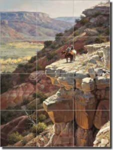 Western Cowboy Ceramic Tile Mural Backsplash 18 X 24 The Intrud