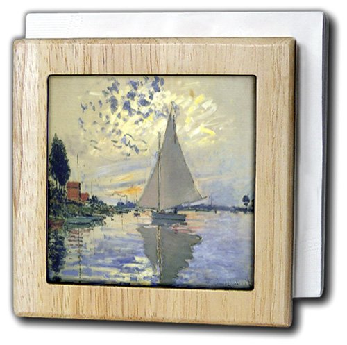 Florene - Monet Vintage Art - Print of Monet Painting Sailboat At Le Petit - 6 inch tile napkin holder (nh_203678_1)