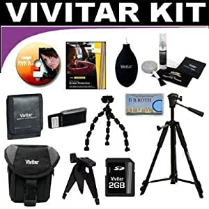Vivitar Brand Deluxe Accessory Kit Which Includes Tripods + Case + SD 2GB Card + Much More For The HP PhotoSmart M425, M517, M22, M23, M417, M407, M307, MZ67, M537, M437, M527, M525, M737 Digital Cameras