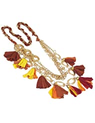 Elegant Elements Gold Plated Two Colored Tussels Necklace For Women
