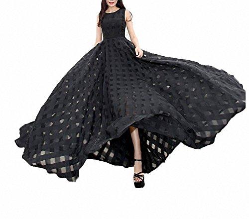 Afibi Women's Slim Beach Dress Casual Party Long Maxi Dresses (medium, black)