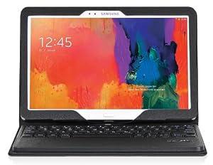 DONZO Echt Ledertasche inkl. Bluetooth Tastatur (deutsches Tastaturlayout, QWERTZ) für Samsung Galaxy Tab Pro 10.1 T520 & T525 mit Standfunktion - schwarz
