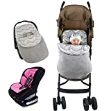 Vine Saco de invierno dormir térmico para carrito silla de bebé universal abrigo Manta para envolver al bebé para el asiento del bebé en el coche Saco portabebés 46*69CM(Gris)