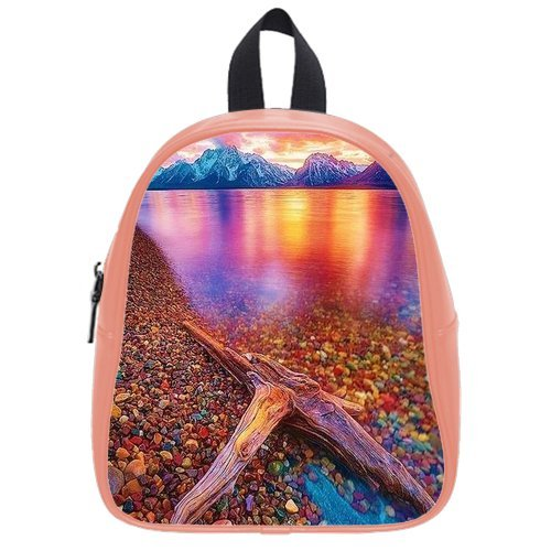 Generic Custom Painting Blue Mountain Golden Sky Sea Ocean Colorful Cobblestone Printed Light Salmon School Bag Backpack Fit Short Trip Pu Leather Small front-980318