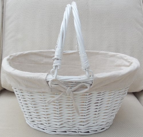 white lined wicker basket with handles toy storage or shopping and gardening discount wicker. Black Bedroom Furniture Sets. Home Design Ideas