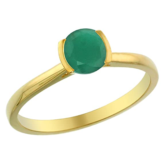 14ct Yellow Gold Natural Emerald Solitaire Ring Round 5mm, sizes J - T