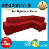 NEW Chamber Corner Sofa Bed with Storage - Black, Brown or Red Faux Leather (Red Right Hand Corner)