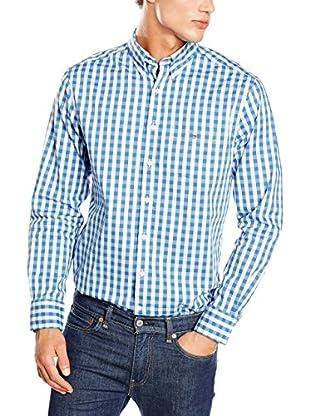 GANT Camisa Hombre Heather Oxf Gingham Reg Bd Sr (Azul)