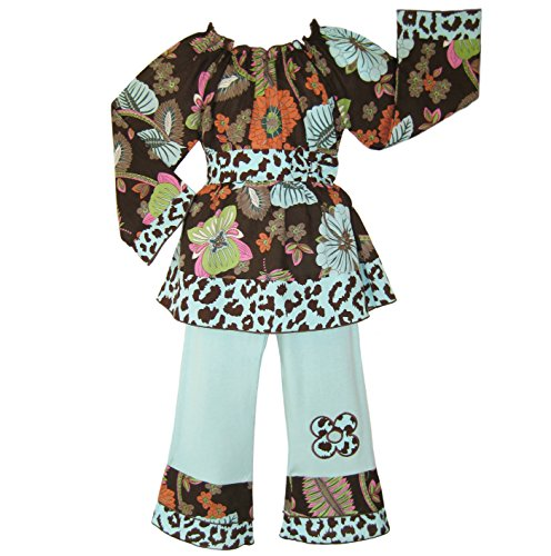 Toddler Girls 4/5T Boutique Cotton Long Sleeve Smocked Floral Cheetah Clothes front-11906