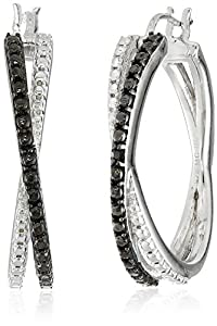 Sterling Silver Black Diamond Accent Cross Hoop Earrings