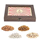 Aaina Diya Logo With Plain Big Border Wooden Handicraft Gift Box With Dry Fruits