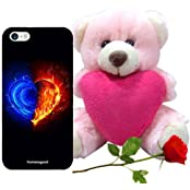 Valentine Gifts Homesogood Calm And Burning Love Black 3D Mobile Case For IPhone 5 / 5S (Back Cover) With Teddy...