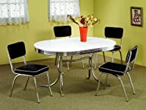 Hot Sale 5 Piece White & Chrome Retro Table & Chair Set