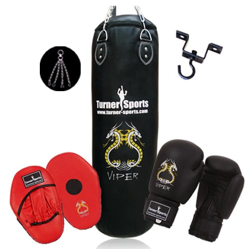 Complete Boxing  &  Fitness Set Artificial Leather Punch Bag Kickboxing Bag 5 feet Black with chrome plated chain and Heavy duty Metal Ceiling Hook for hanging bags martial arts focus pad Rexion with target and Boxing Gloves hand moulded PU Black 6oz