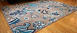 Generations New Contemporary Flowers Modern Area Rug, 8\' x 10.2\', Brown/Navy/Coral/Blue/Grey