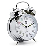 JCC Twin bell non ticking sweep second hand bedside alarm clock with Nightlight and Loud Alarm (White)