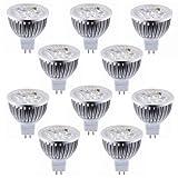 Lot of 10 PCS 12V 4W MR16 LED Bulbs - 3200K Warm White LED Spotlights - 50Watt Equivalent - 330 Lumen 60 Degree Beam Angle for Landscape, Recessed, Track lighting