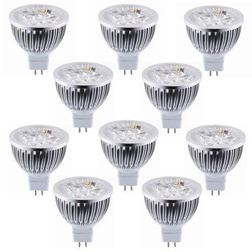 How Nice Dimmable 12V 4W Mr16 Led Bulbs - 3200K Warm White Led Spotlights - 50Watt Equivalent - 330 Lumen 60 Degree Beam Angle For Landscape, Recessed, Track Lighting - Pack Of 10
