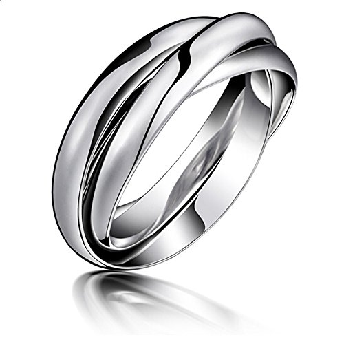 Navifoce Stainless Steel Triple Plain Silver Band Rings Interlocked Rings Three in One (9) (Interlocking Rings compare prices)