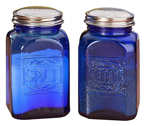 Miles Kimball Cobalt Blue Depression Style Glass Salt & Pepper Shakers front-850249