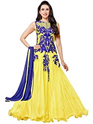 VH Fashion Yellow Faux Georgette Semi Stitched Dress Material