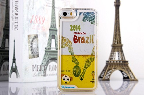Angelia 2014 Fashion 2014 Brazil World Cup 3D Free Flowing Liquid Swimming Football Hardshell Case For Apple Iphone 5 5S (Yellow)