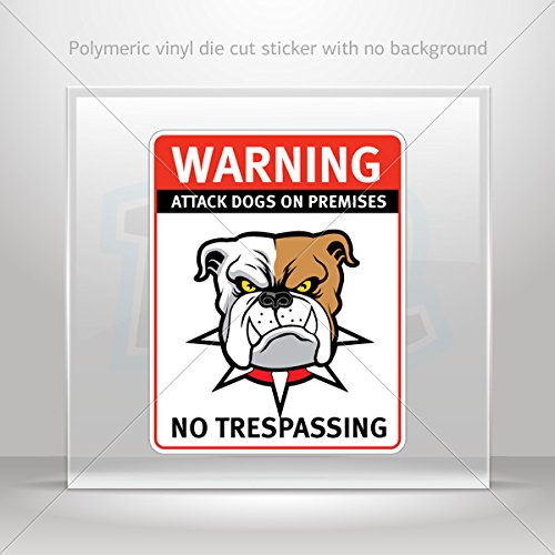 Stickers Decal Warning Attack Dog On Premises. No Trespassing Motorbike Waterproof Vinyl 0500 X2876