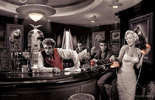Java Dreams with James Dean Marilyn Monroe Elvis Presley and Humphrey Bogart by Chris Consani 36x24 Art Print Poster Wall Decor Celebrity Movie Stars At Coffee Bar Icons Hollywood (James Dean Wall Decor compare prices)