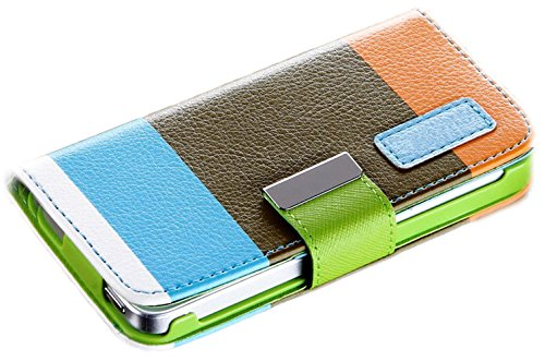 Mylife Sky Blue Color Block Design - Textured Koskin Faux Leather (Card And Id Holder + Magnetic Detachable Closing) Slim Wallet For Iphone 5/5S (5G) 5Th Generation Smartphone By Apple (External Rugged Synthetic Leather With Magnetic Clip + Internal Secur
