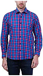 PRIknit Men's Casual Shirt (AF-S3-BP, Blue and Pink, 42)