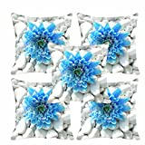 meSleep Blue Flower Cushion Cover(16 X 16) Set of 5